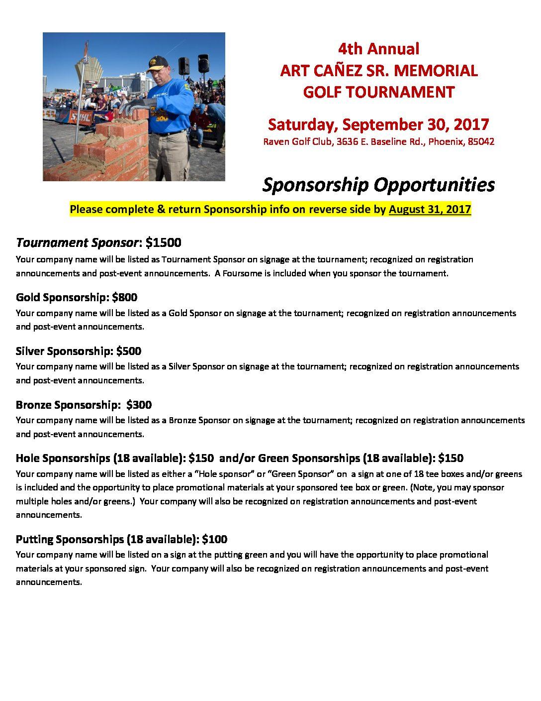 4th Annual Art Canez Sr. Golf Tournament Sponsor Form 2017